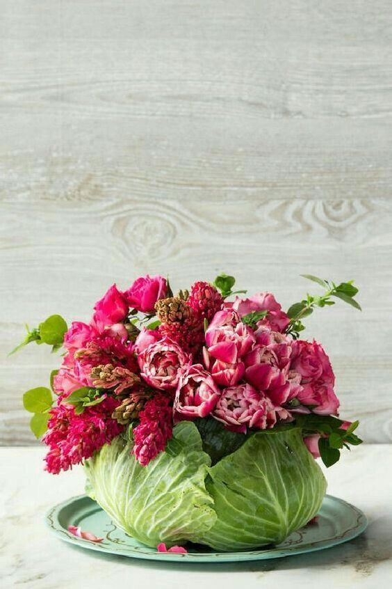 a cool Easter flower arrangement in bright pink, with foliage placed into a large cabbage