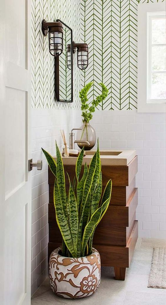 refresh the bathroom with a statement plant and some greenery branches in a vase for a cool look
