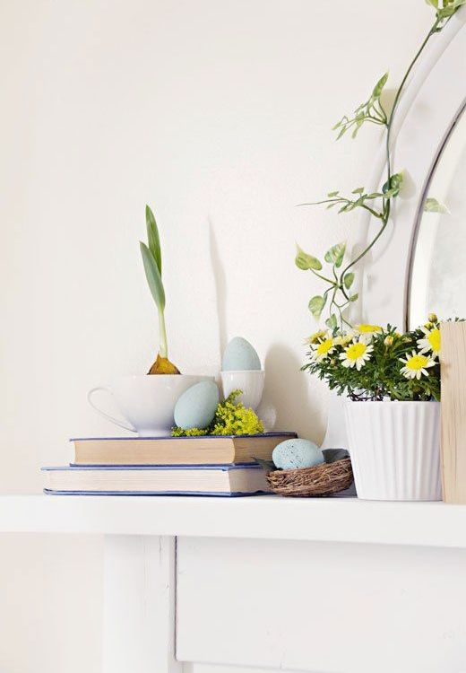 simple spring and Easter styling with potted blooms, blue eggs in a nest and a bulb in a tea cup