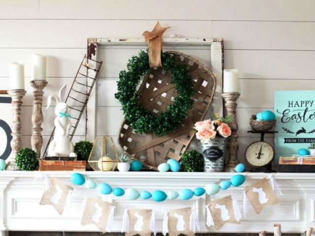 style your mantel with bright turquoise faux eggs, succulents, candles and a boxwood wreath and topiary