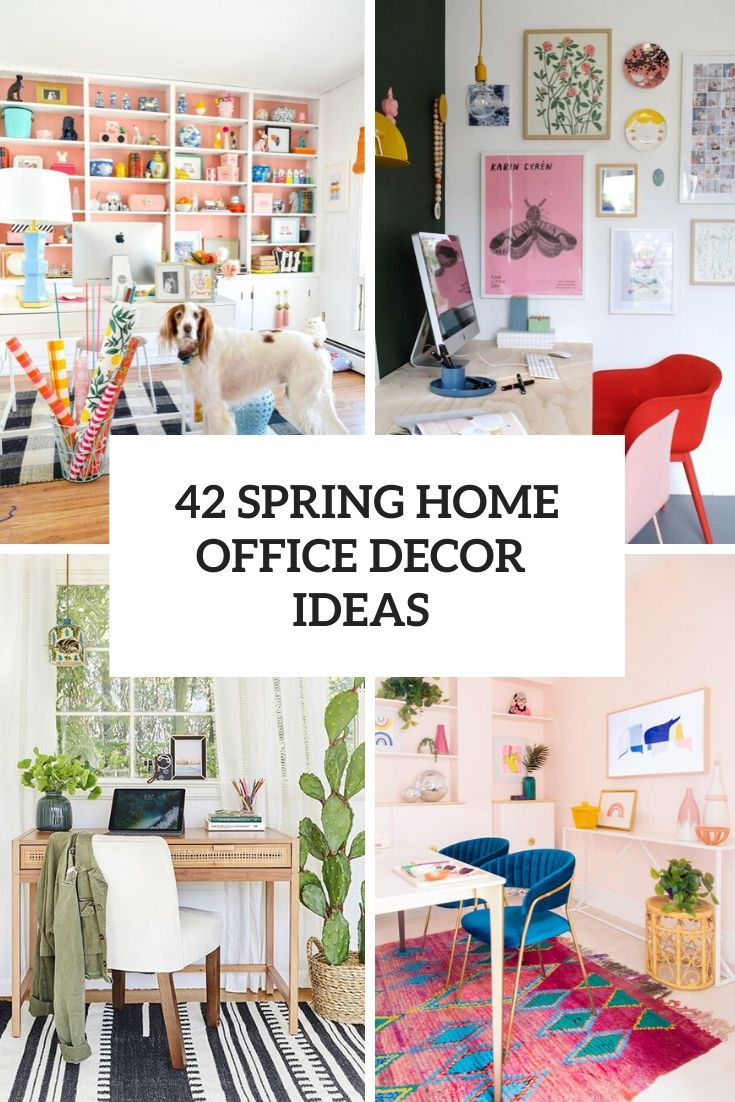 spring home office decor ideas cover