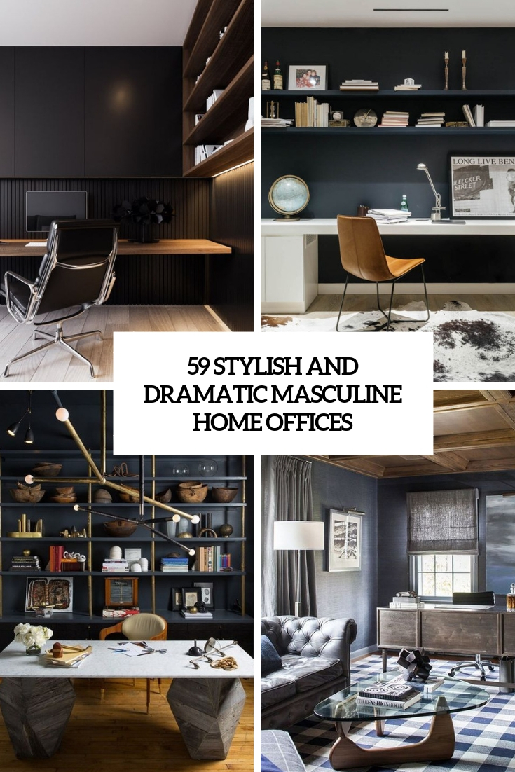59 Stylish And Dramatic Masculine Home Offices