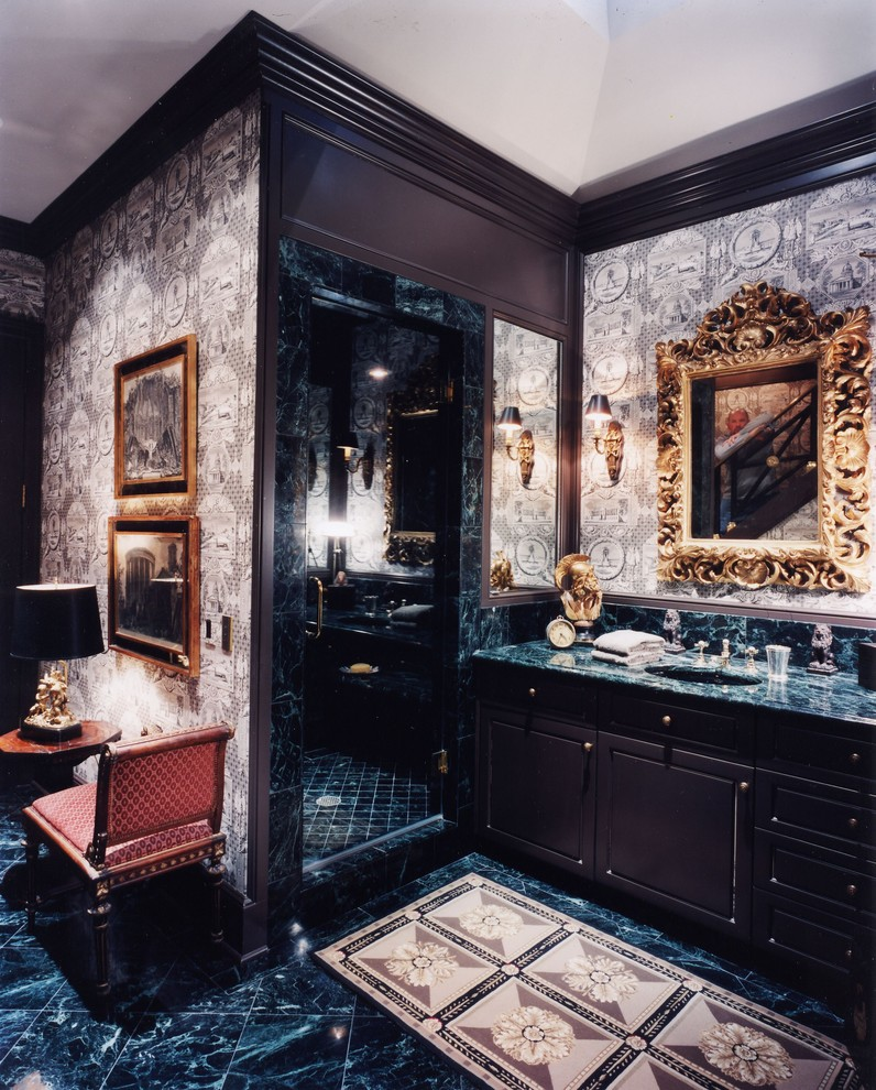Merveilleux Traditional Bathrooms Could Also Look Quite Masculine. Although The Dark  Color Scheme Is Also Necessary