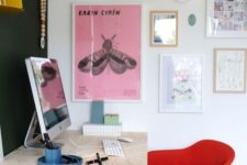 a bright gallery wall and colorful chairs will make your home office more inspiring and more spring-like