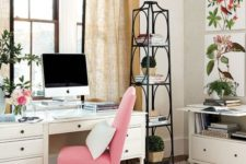 a bright pink covered chair will refresh your home office instantly – just buy on and put it on the chair