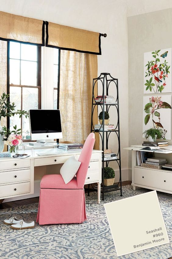a bright pink covered chair will refresh your home office instantly - just buy on and put it on the chair