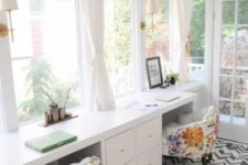 bright floral print chairs refresh the home office and make it fun and bright for spring