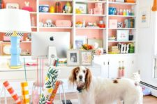 cover the wall behind the shelves with peachy pink paper or paint and voila – you have a bright spring space