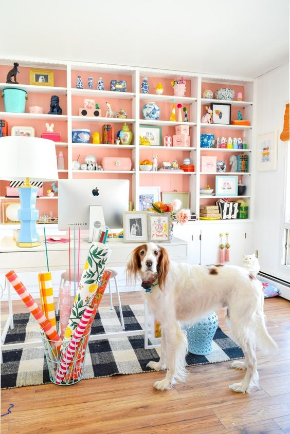 cover the wall behind the shelves with peachy pink paper or paint and voila - you have a bright spring space
