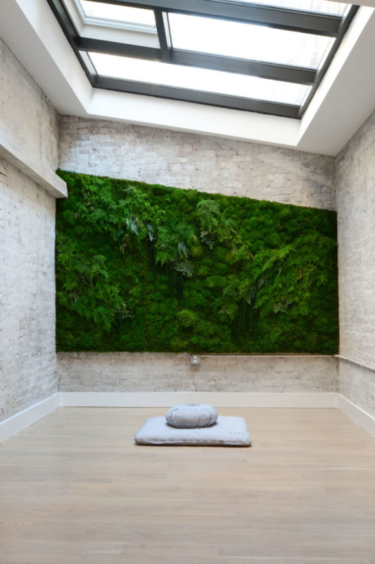 a clean and minimalist meditation room with a skylight and a greenery wall to benefit your breathing