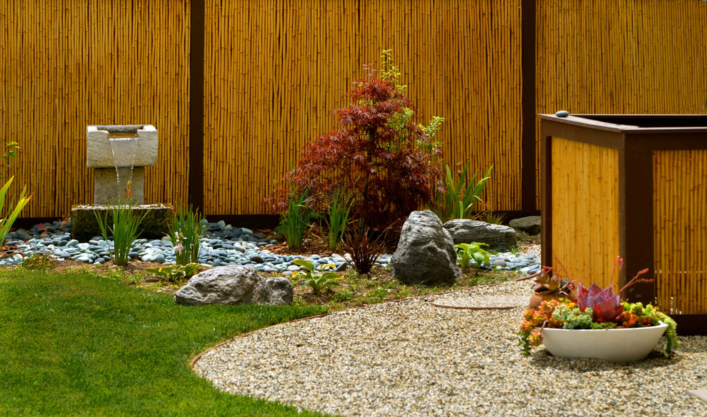 A bamboo screen is a perfect backdrop for your garden. Adding a water feature like a small waterfall is also a great idea because water gives positive energy to the space.