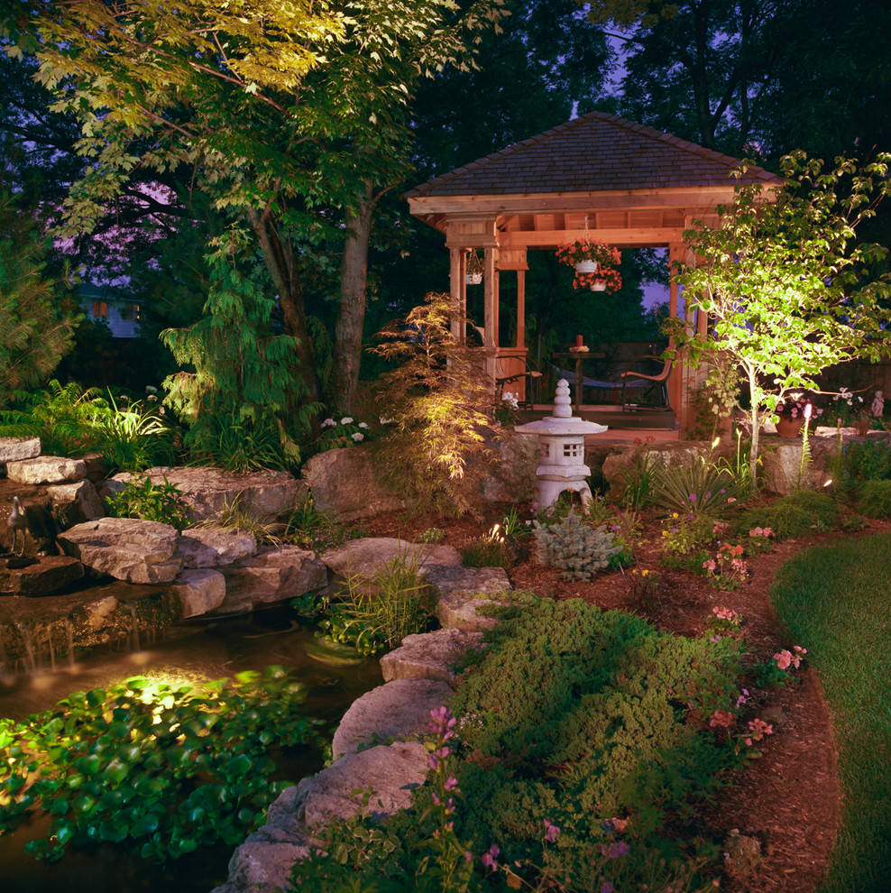 A pavilion, a carp pond, beautiful trees and garden paths should all be highlighted with lights to make the garden look gorgeous at night too.