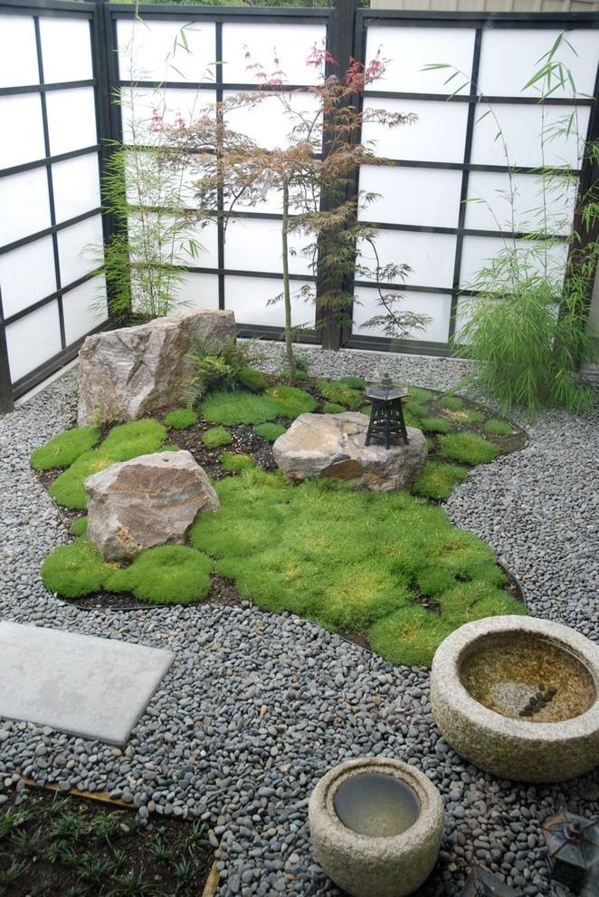 Courtyard is a perfect place for a little rock garden because it's easier  to create low