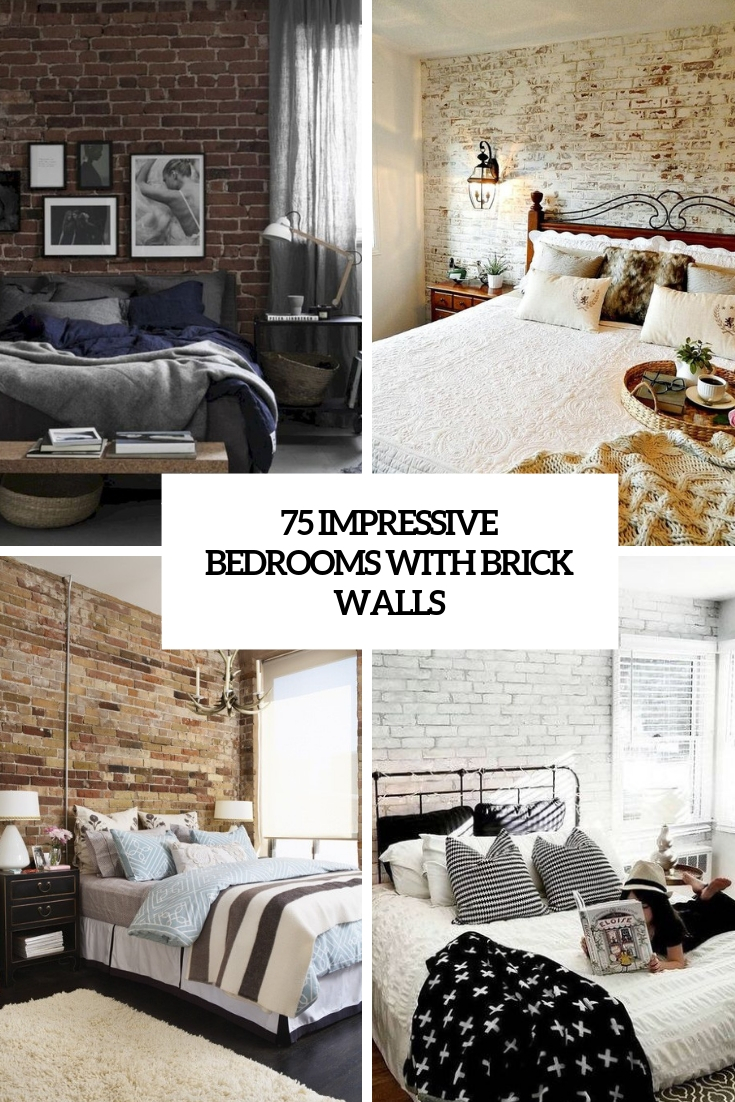 impressive bedrooms with brick walls cover