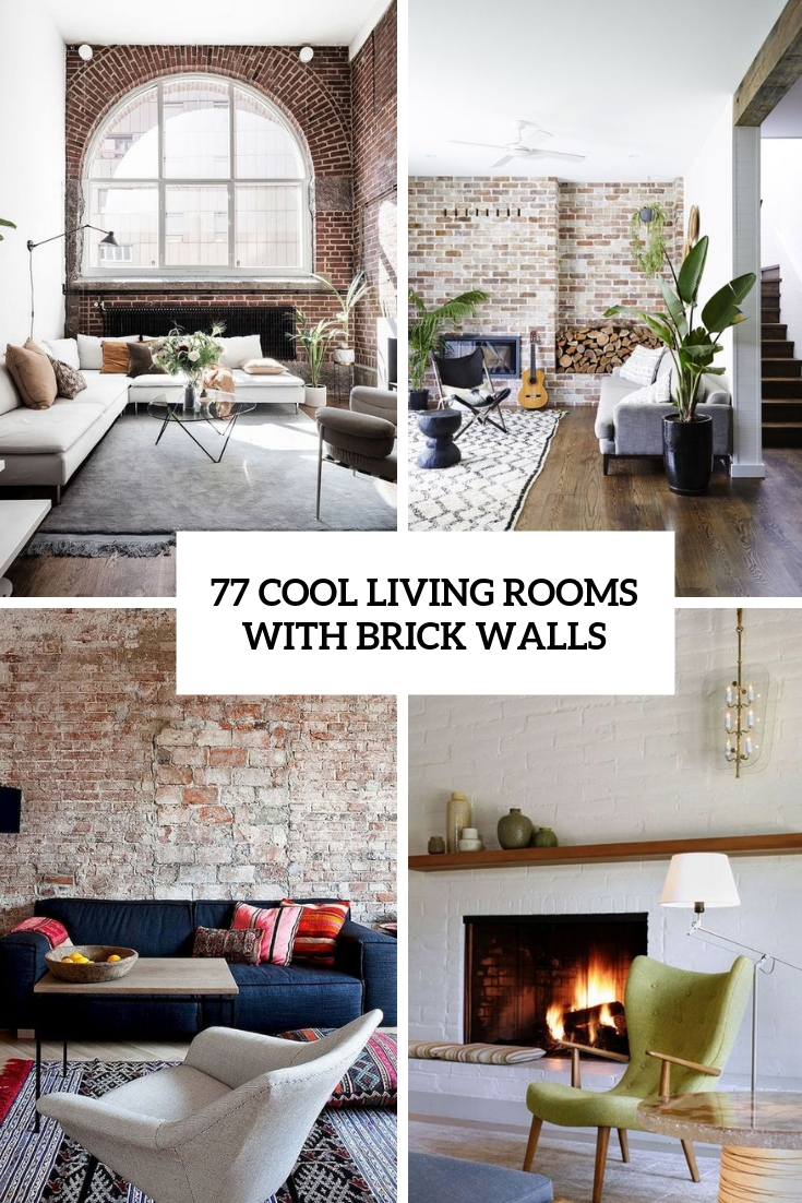cool living rooms with brick walls cover