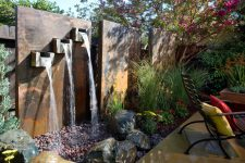 a contermporary waterfeature could also be made of metal