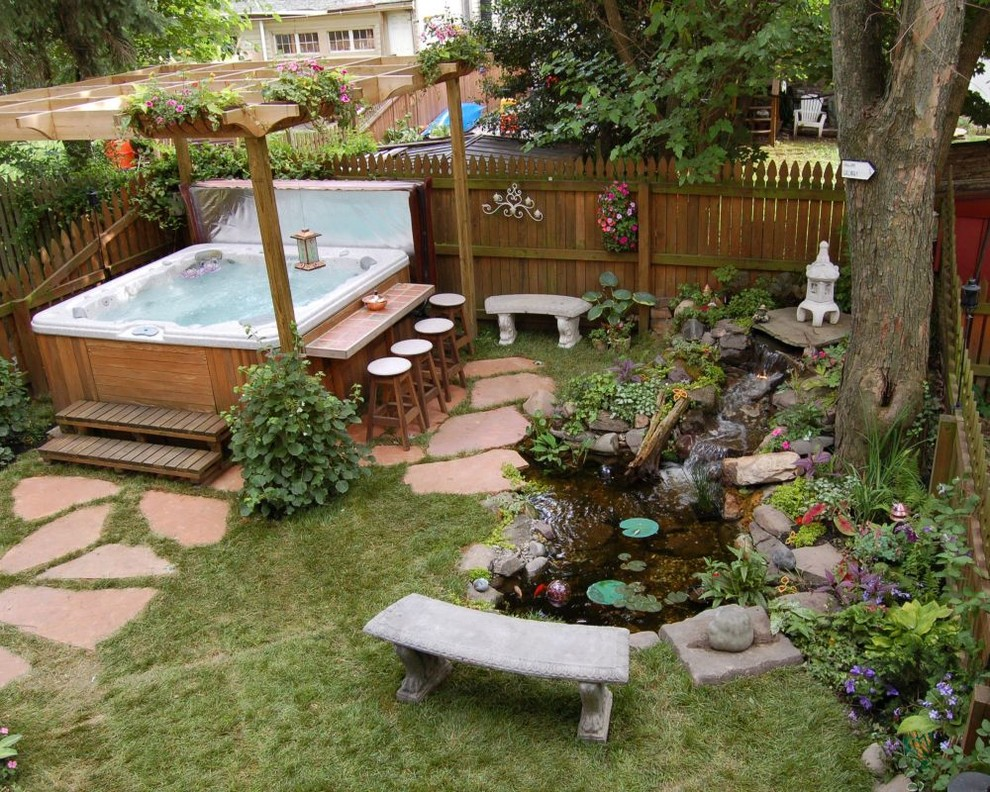 67 cool backyard pond design ideas digsdigs for Hot tub designs and layouts