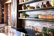 a rustic kitchen with brick walls and floors plus rich stained cabinets for a more dramatic look