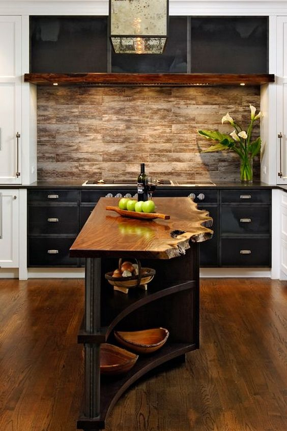 a small and narrow kitchen island in dark stained wood with a living edge countertop looks really wow