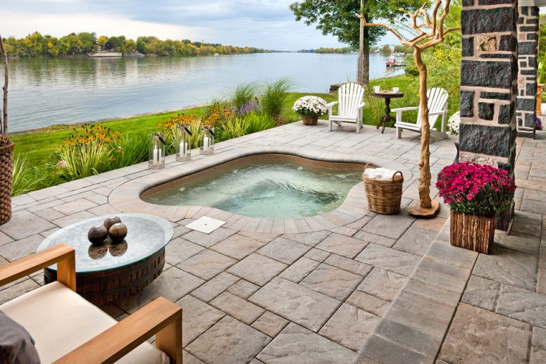 an amazing pation by the river should definitely feature an in ground hot tub - Hot Tub Design Ideas