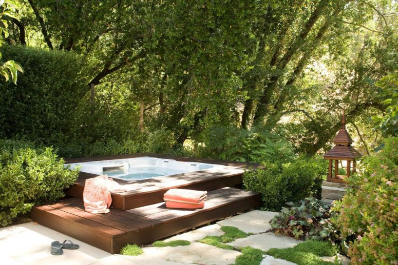 an outdoor spa is one of those things that could make your backyard special - Hot Tub Design Ideas