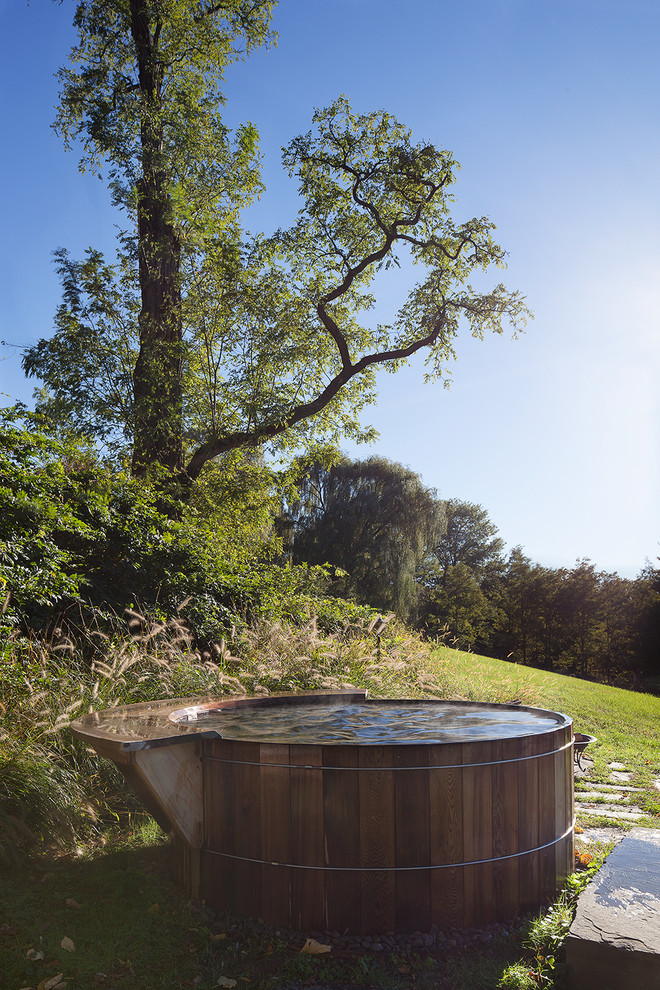 simple wooden tub is the perfect thing to enjoy the scenery