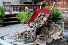 you can even repurpose some of your garden stuff to construct a beautiful waterfall