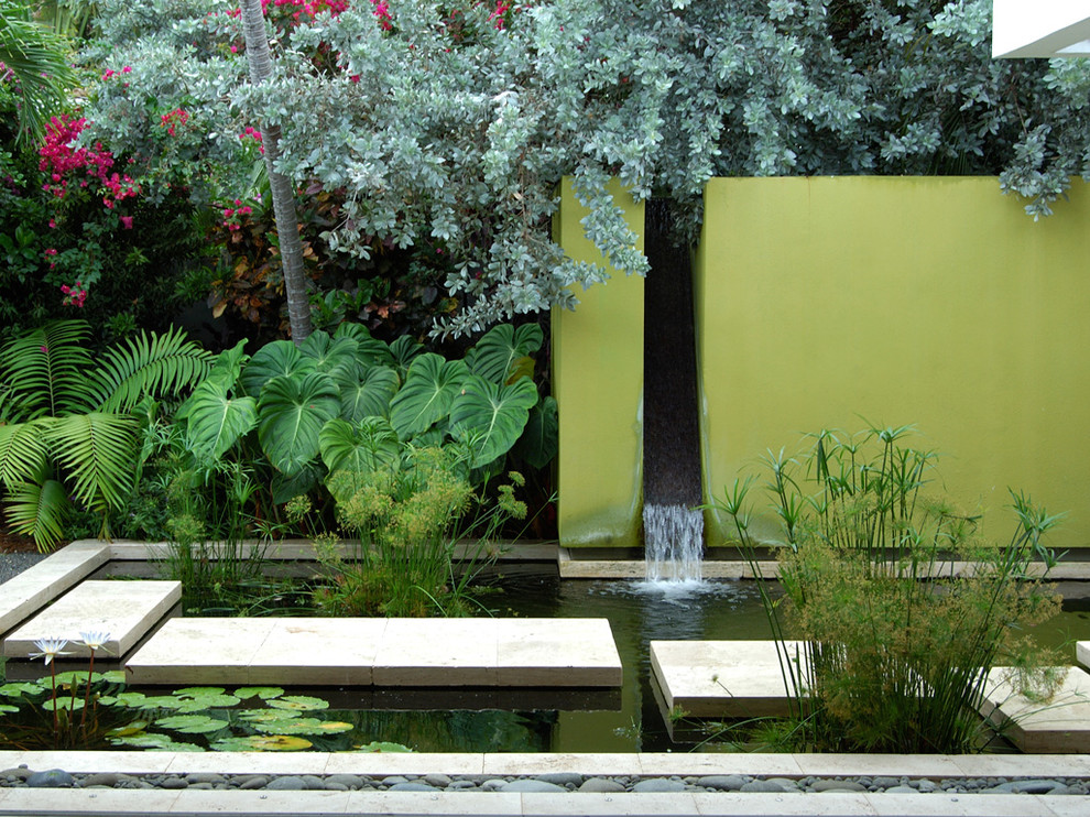 A water wall could become a great addition to a backyard pond.