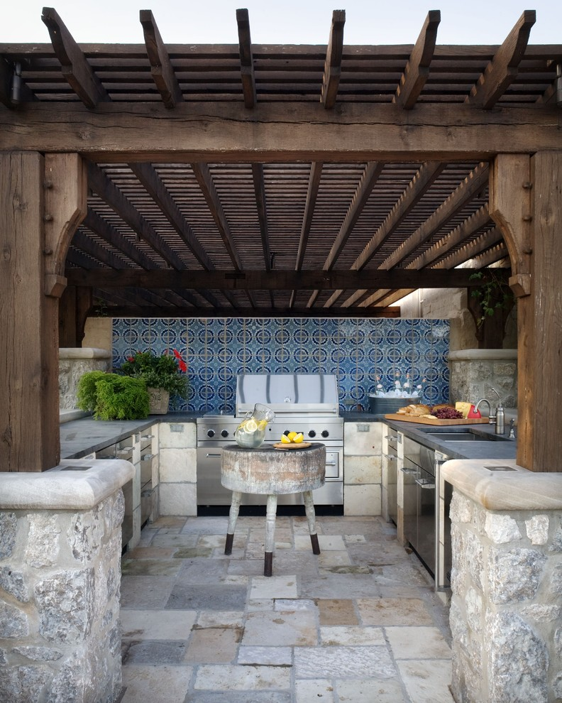 Classic Patio Ideas In Mediterranean Style: 95 Cool Outdoor Kitchen Designs