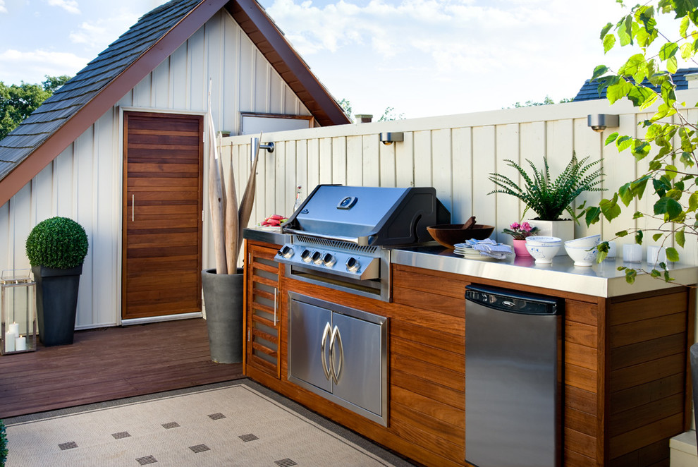 this rooftop kitchen features even a dishwasher a subtle lighting system make it a great - Outdoor Kitchen Ideas Designs