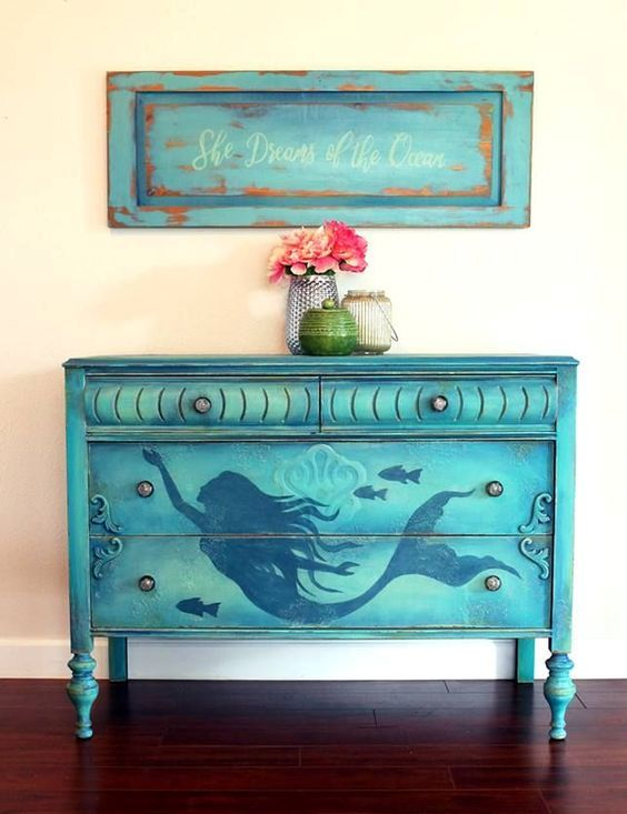 a blue mermaid sideboard can be DIYed and will make a bold statement in your nautical or seaside home
