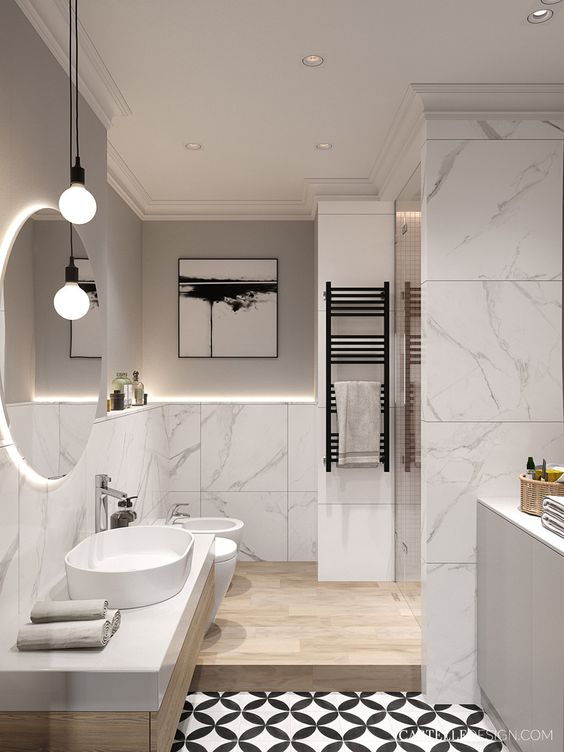 a chic contemporary bathroom with white marble, sleek wood, a patterned floor and touches of black