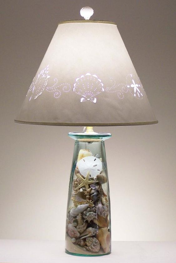 a cool table lamp with a glass base with seashells, starfish and beach sand inside and a printed lampshade for a beachy space