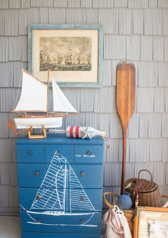 a handpainted maritime dresser is a lovely idea for a coastal or beachy space and can be easily DIYed