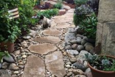 a natural and rustic garden path of larger stones and smaller pebbles around looks cool and chic
