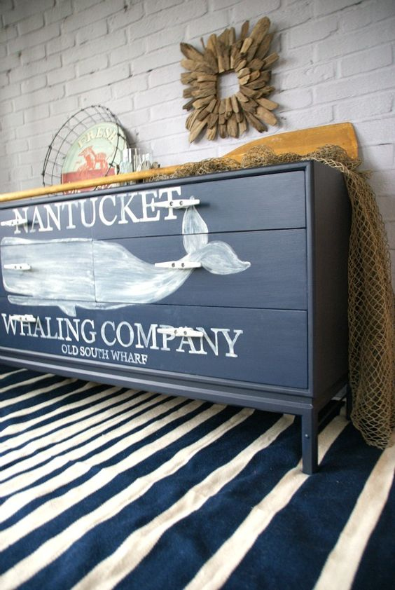 a nautical whale dresser is a cool solution for any nautical or coastal space, you can hack a usual one easily