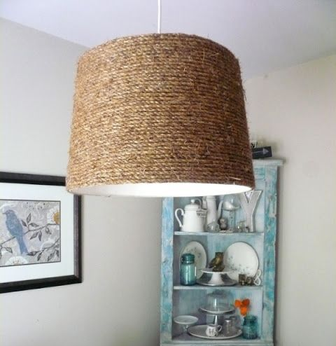 a rope lampshade is easy to DIY and will give a nautical feel to your space at once