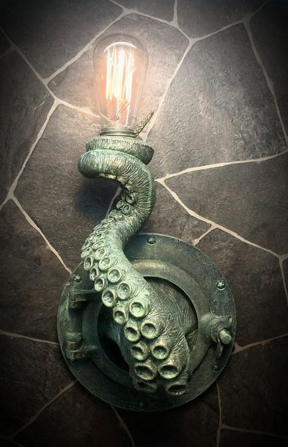 a unique tentacle wall lamp like this one will make your space look unusual and very seaside-like