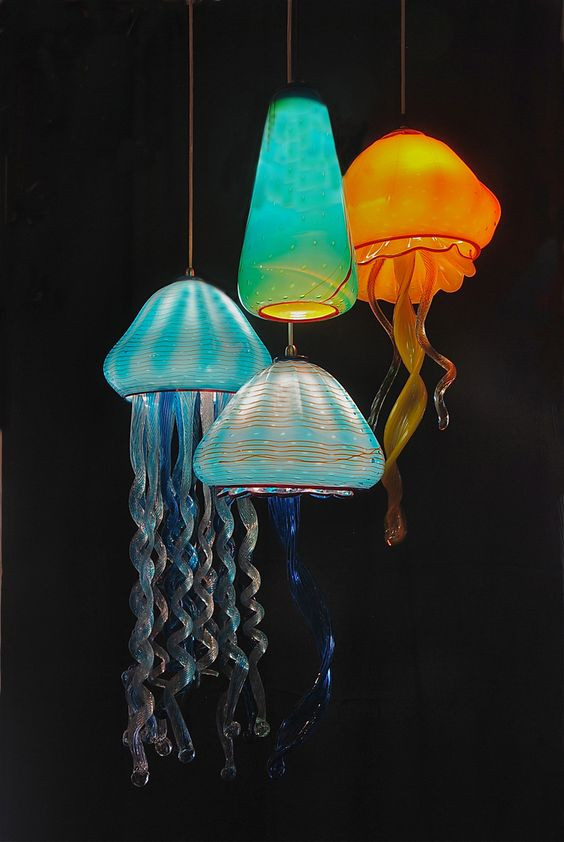 cool colorful jellyfish inspired pendant lamps like these ones will make your room feel like under the sea