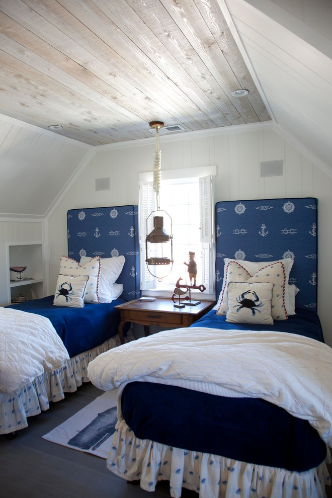Small Beach Themed Shared Attic Room With Weathered Wood Boards On The Ceiling
