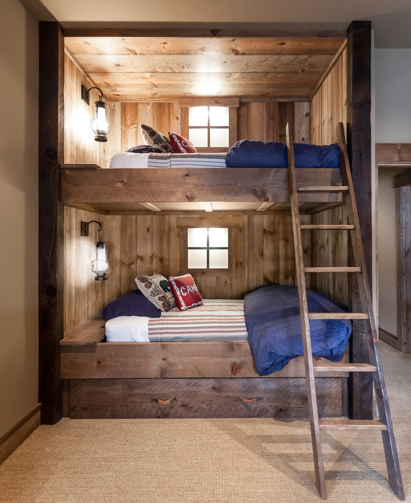 Such bunk bed would become a rustic island even in a contemporary room.