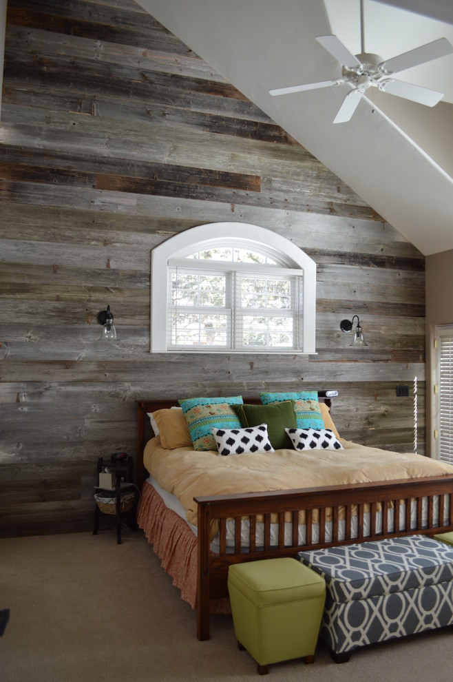 An attic bedroom could easily be decorated in rustic style because there are usually a lot of raw wood already.