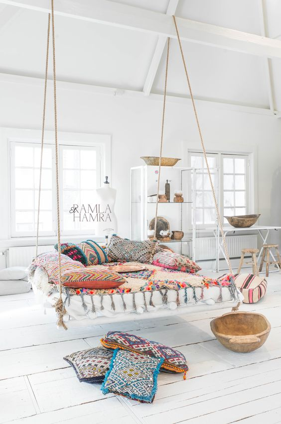 For An Attic Boho Bedroom A Hanging Bed Would Be Awesome Choice