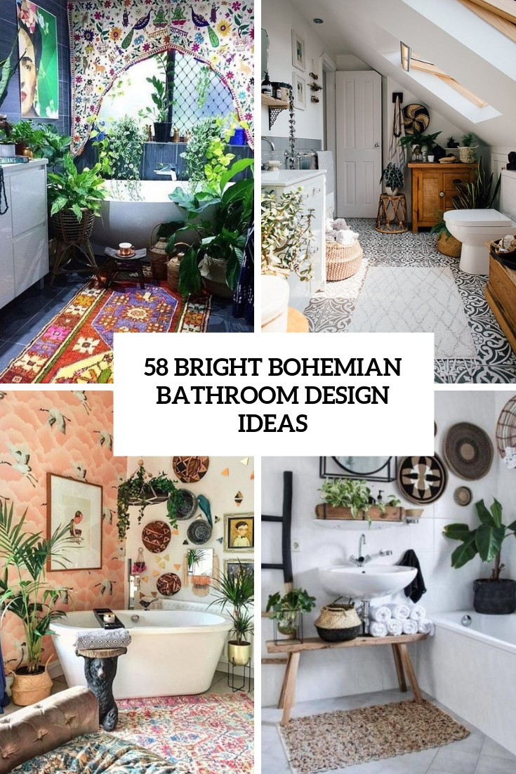 58 Bright Bohemian Bathroom Design Ideas