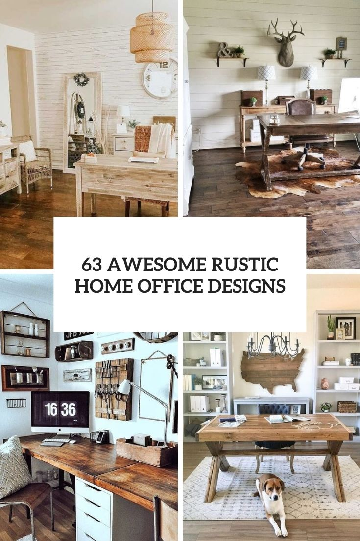 63 Awesome Rustic Home Office Designs