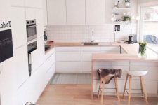 a minimalist Scandinavian kitchen with sleek white cabinets, light staiend countertops, stools and built-in appliances