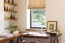 a modern rustic home office with burlap shades, a wooden corner desk, a wooden chair and open shelves