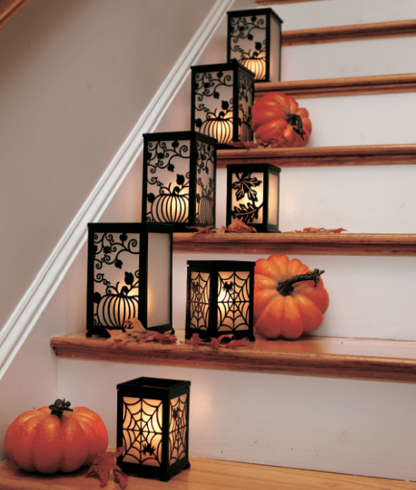 Lanterns is a great way to decorate your home for fall and Halloween.