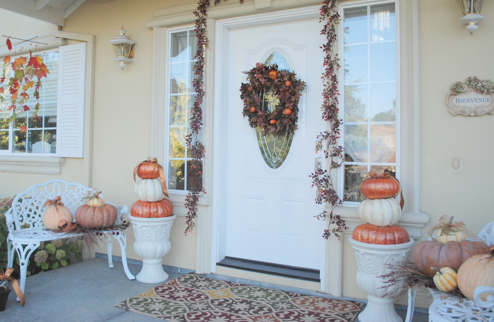 Painted pumpkins with glaze paint would make them perfect addition to your patio's decor.