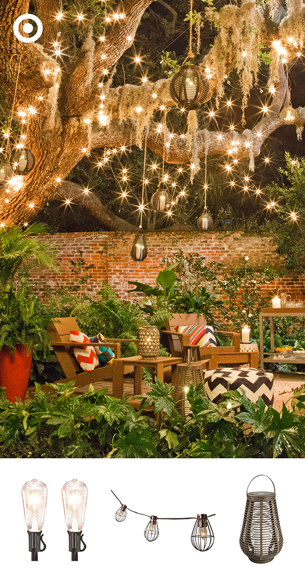 A variety of string lights and lanterns above your patio could turn your space into a magical retreat!